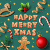 Merry Christmas greeting card with cookies Royalty Free Stock Image