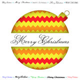 Merry Christmas greeting card, cut ball, yellow zigzag background. Vector Stock Image