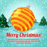 Merry Christmas greeting card with cute ball toy. And place for your text. Vector illustration Stock Photos