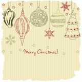 2015, Merry Christmas greeting card. With cute Christmas balls royalty free illustration