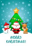 Merry Christmas! Greeting card with cute cartoon characters. Merry Christmas! Greeting card with cute cartoon characters: Santa Clause, Snowman and Reindeer Royalty Free Stock Image