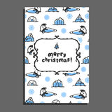 Merry christmas greeting card with cute cartoon seal Royalty Free Stock Photo