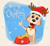 Merry Christmas greeting card. Cute dog wearing Santa Claus hat. And deer antlers sitting near bowl with food. Vector illustration Stock Image