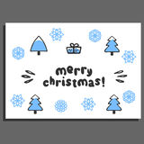 Merry christmas greeting card with cute doodle spruce Stock Image