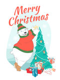 Merry Christmas greeting card cute polar bear wearing knitted sw Royalty Free Stock Photography