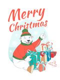 Merry Christmas greeting card cute polar bear wearing knitted sw Stock Photos