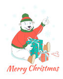 Merry Christmas greeting card cute polar bear wearing knitted sw Stock Images