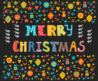 Merry Christmas greeting card. Cute postcard  Stock Photography