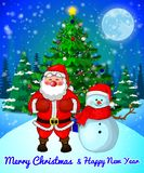 Merry Christmas greeting card with cute Santa and snowman on forest and snowflakes background. Royalty Free Stock Photos