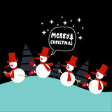 Merry Christmas greeting card. Christmas greeting card with cute snomen and Merry Christmas lettering. Design element for Happy New Year and Christmas greeting vector illustration
