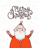 Merry Christmas greeting card on dark background with Santa Claus and stylish lettering - Merry Christmas. Season vector holiday poster template. Handwritten Royalty Free Stock Images