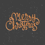 Merry Christmas greeting card on dark background with snow. Season vector holiday poster template. Handwritten text Stock Image