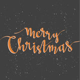 Merry Christmas greeting card on dark background with snow. Season vector holiday poster template and handwritten text. Merry Christmas greeting card on dark Stock Images
