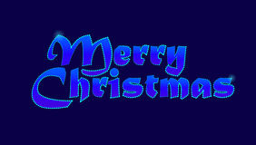 Merry Christmas Greeting Card. Dark Blue Neon Retro Font. Vector Holiday Stock Image