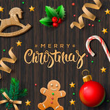 Merry Christmas greeting card with decor Royalty Free Stock Photography