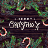 Merry Christmas greeting card with decor Royalty Free Stock Images