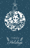 Merry Christmas Greeting Card. With Christmas decoration. Hand drawn winter holiday design for fabric, wrapping paper, greeting cards, invitation, stationery vector illustration