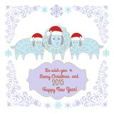 Merry Christmas Greeting card. Decorative background with merry Merry Christmas stock illustration