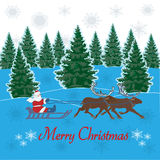 Merry Christmas greeting card. Decorative background with Santa Clause and reindeers vector illustration