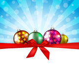 Merry Christmas greeting card   with decorative re Royalty Free Stock Photos