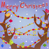 Merry Christmas Greeting card with Deer Antlers an Royalty Free Stock Photos