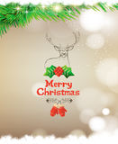 Merry Christmas Greeting Card with deer. Stock Photography