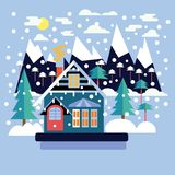 Merry Christmas greeting card design with country landscape Royalty Free Illustration