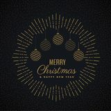 Merry christmas greeting card design and hanging balls Royalty Free Stock Photos