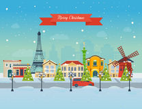 Merry Christmas greeting card design. Paris Royalty Free Stock Image