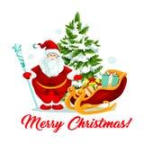 Merry Christmas Santa gifts sleigh tree vector icon Royalty Free Stock Photo
