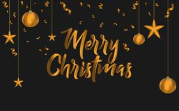 Merry christmas greeting card design. Vector christmas greetings background illustration Stock Images