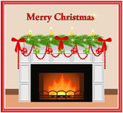 Merry Christmas greeting card. Merry Christmas - greeting card. Festive fireplace with red and green toys, candles, bows and fir branches in flat style. Vector Royalty Free Stock Photography
