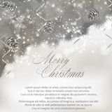 Merry Christmas greeting card with fir banches Royalty Free Stock Image