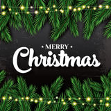 Merry Christmas. Greeting Card with Fir Branches and Neon Garlan Stock Photos