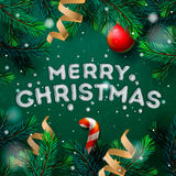 Merry Christmas greeting card with fir twigs Royalty Free Stock Images