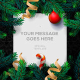 Merry Christmas greeting card with fir twigs Royalty Free Stock Image