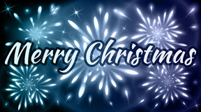 Merry Christmas greeting card with fireworks of blue shades. Xmas celebrations Royalty Free Stock Photos