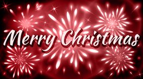 Merry Christmas greeting card with fireworks of red shades. Xmas celebrations Royalty Free Stock Photo