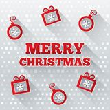 Merry Christmas greeting card with flat icons. Stock Photos