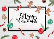 Merry Christmas greeting card. Christmas flat lay design with ribbons, Christmas ball, cookies, pine cones and fir branches Stock Images