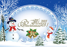 Merry christmas 2015 greeting card. Christmas frame with a snowman on the background of a winter landscape Royalty Free Stock Images