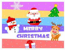 Merry Christmas. Greeting card with funny cartoon characters. Santa Clause, Snowman, Reindeer, Christmas tree, Gift. royalty free illustration