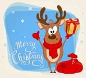Merry Christmas greeting card with funny reindeer standing near. Bag with presents and holding gift box. Vector illustration on blue background with snowflakes vector illustration