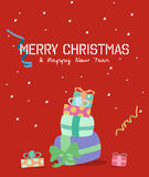 Merry Christmas greeting card.gift box. Merry Christmas greeting card.gift box Stock Images