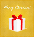 Merry Christmas Greeting Card Gift Box with Bauble Golden Background Stock Photography