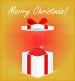 Merry Christmas Greeting Card Gift Box with Bauble Golden Background Royalty Free Stock Images
