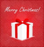 Merry Christmas Greeting Card Gift Box with Bauble Red Background Stock Image