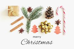 Merry Christmas greeting card. Gift box, ribbon, fir branches, cones, star anise, cinnamon, candy cane and paper christmas tree on. White background with royalty free stock photography