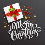 Merry Christmas greeting card. Gift box.  Vector Royalty Free Stock Photos