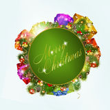 Merry christmas greeting card with gift boxes Royalty Free Stock Images